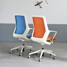 Flo White - Design task chair for office, with padded seat, backrest in net, available in different colours