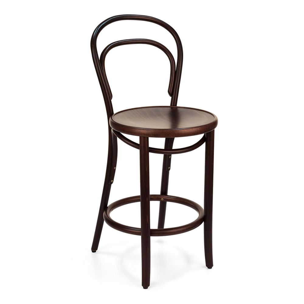 Design stool in chocolate brown dyed beech wood, low