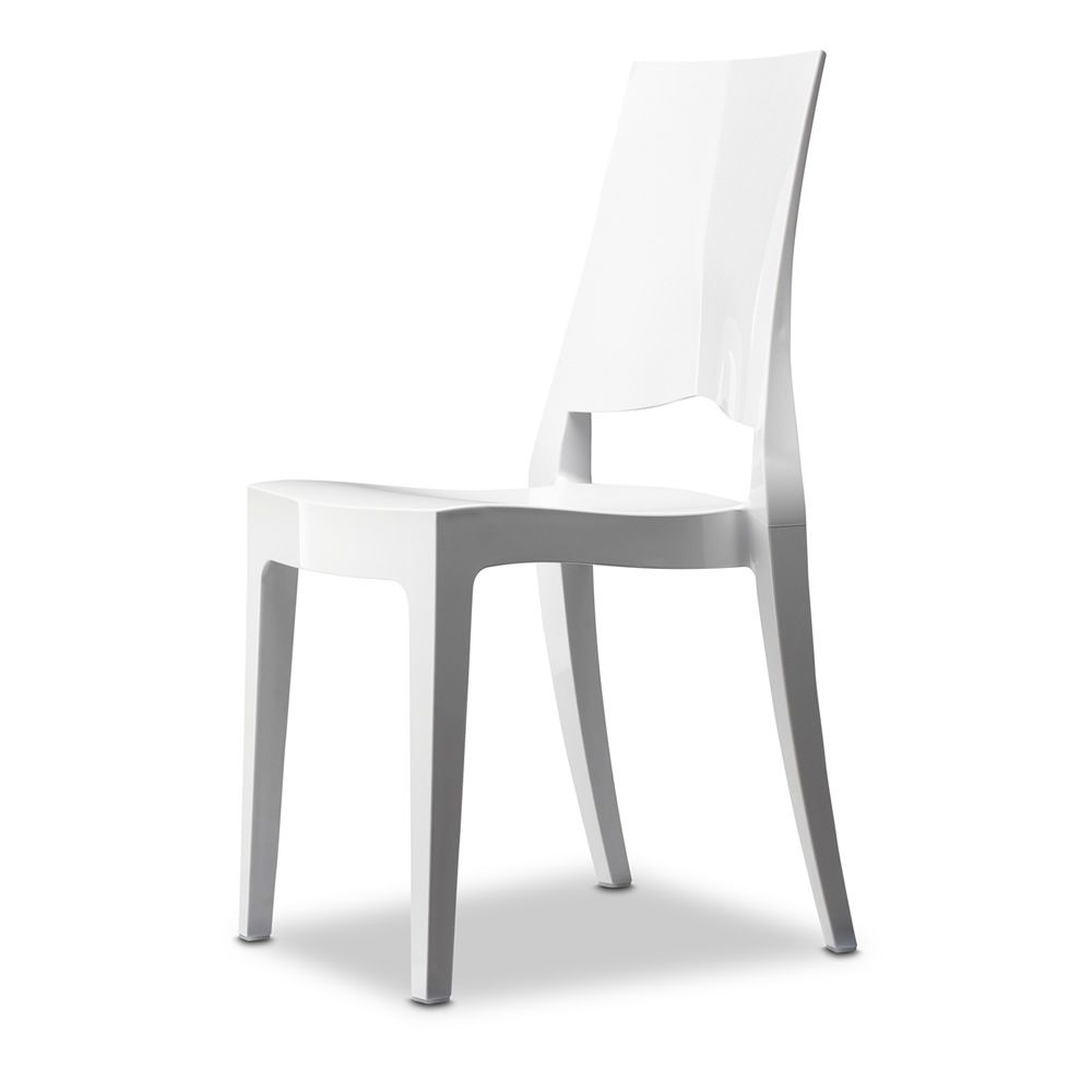 Polycarbonate chair in white full colour