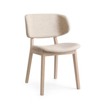 CS1443 Claire - Chair in natural dyed wood with fabric seat, sand grey colour
