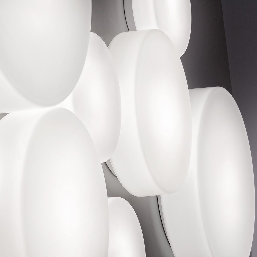 Wall or ceiling lamp, in white glass