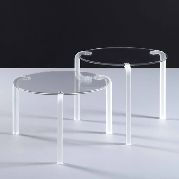 Coffee table made of transparent methacrylate with round top, in two different heights