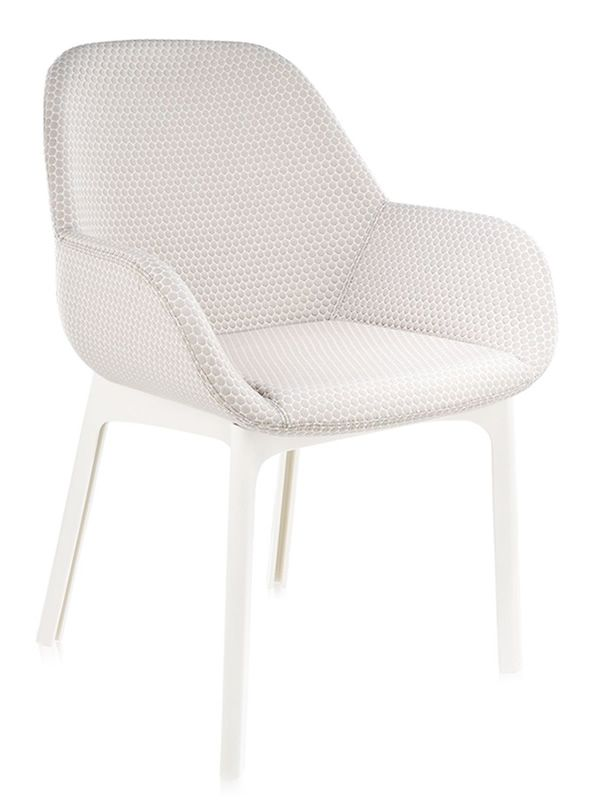 Kartell design small armchair, structure in white colour, beige covering