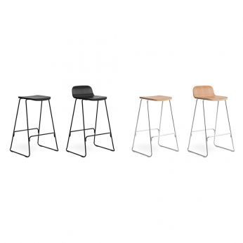 Just SG - Metal stool, veneered wooden seat, different finished available, with or without backrest