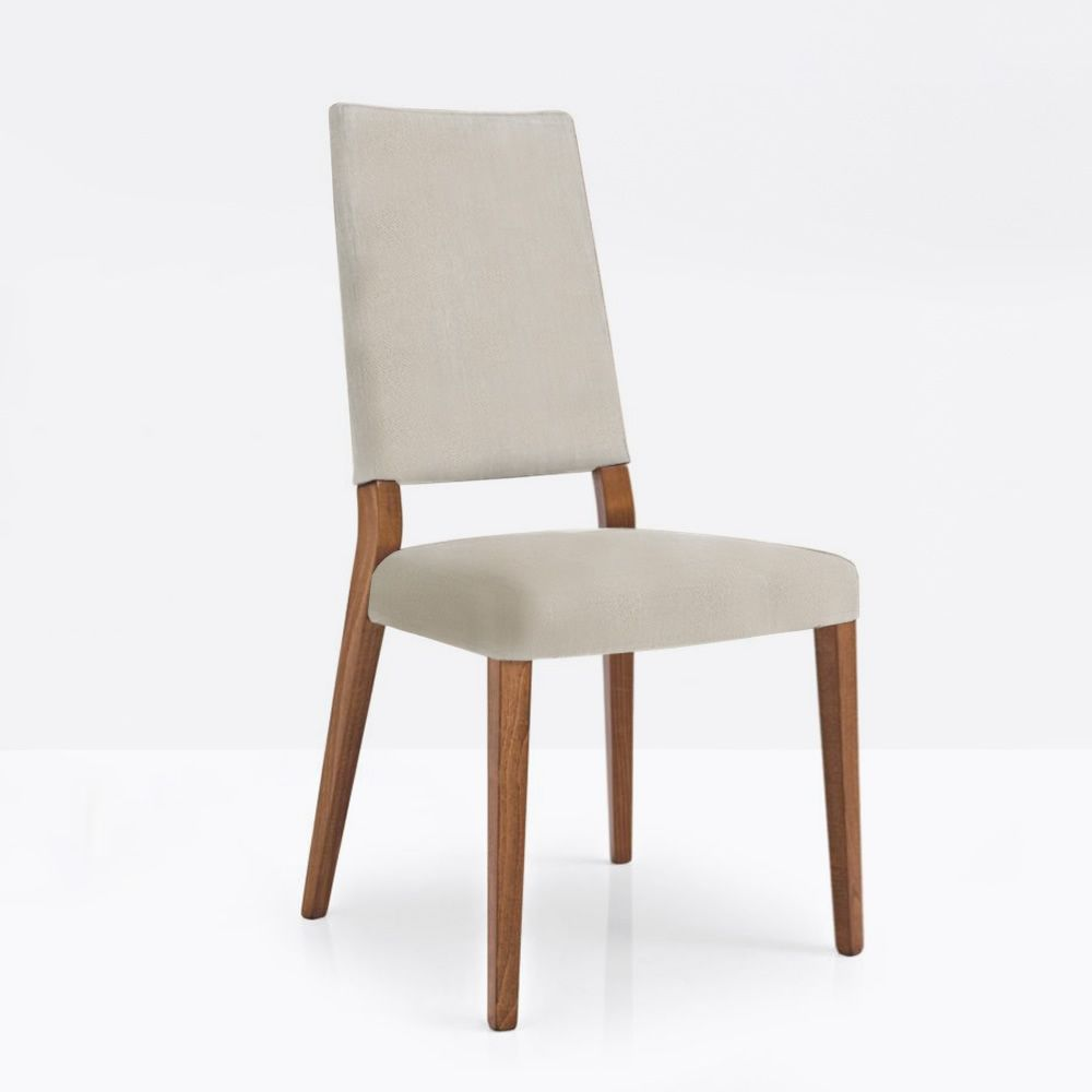 Beech wooden chair, walnut finish, and seat covered with fabric, sand grey colour