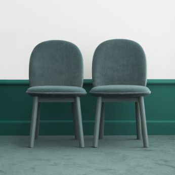 Ace - Chairs made of stained beech wood, padded seat covered with Velour fabric (velvet - 100% polyester) in lake blue colour