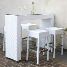 AR-BT - Garden set with one high table and 4 stools, aluminium frame with covering in polyethylene, for outdoors, available in different colours