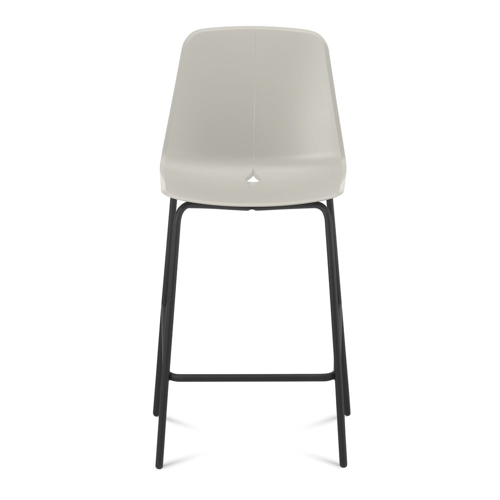 Fixed stool made of black varnished metal with polypropylene seat in sand colour