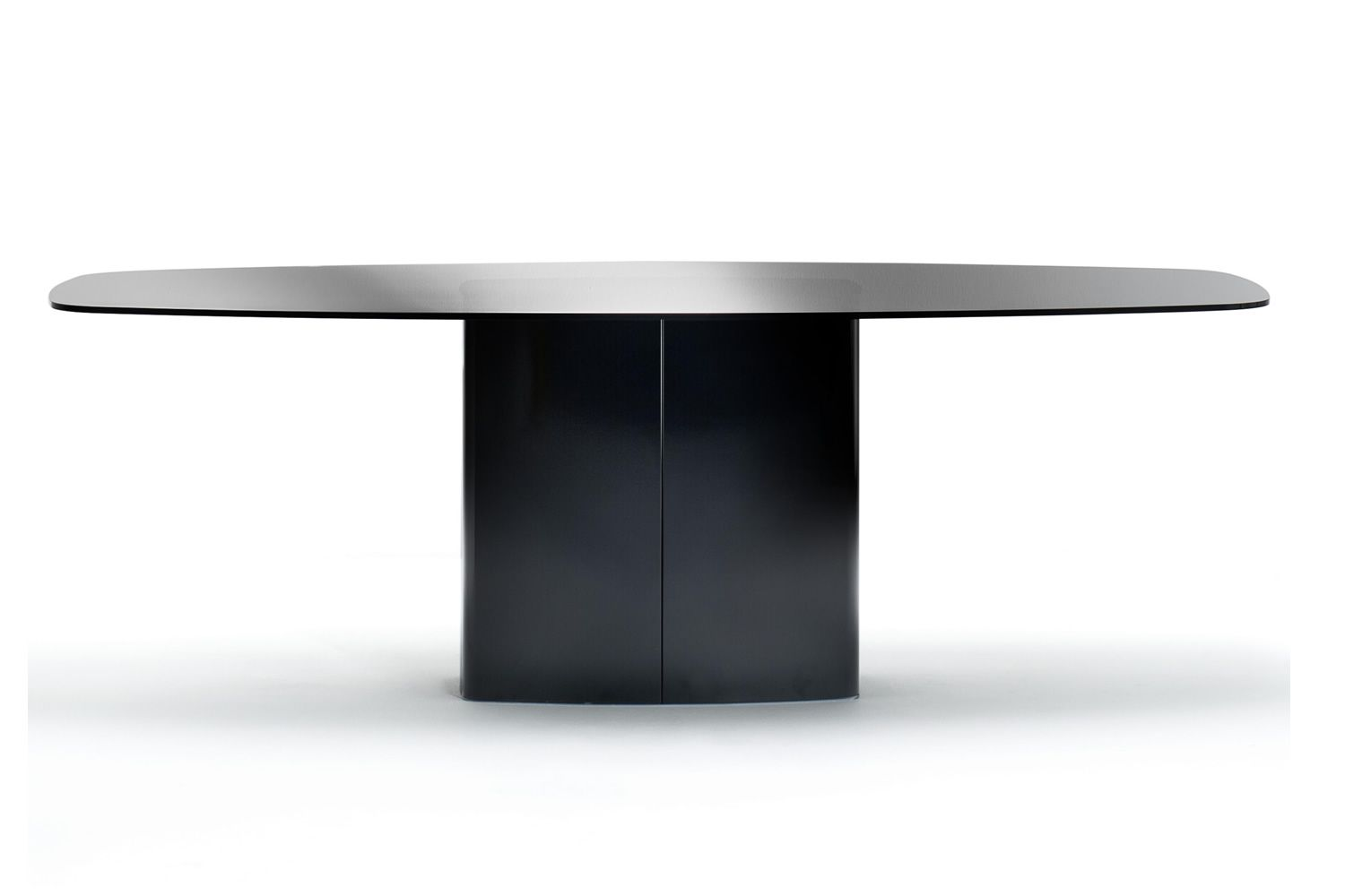 Design table for meating room, in black laquered metal base and smoked grey glass top version