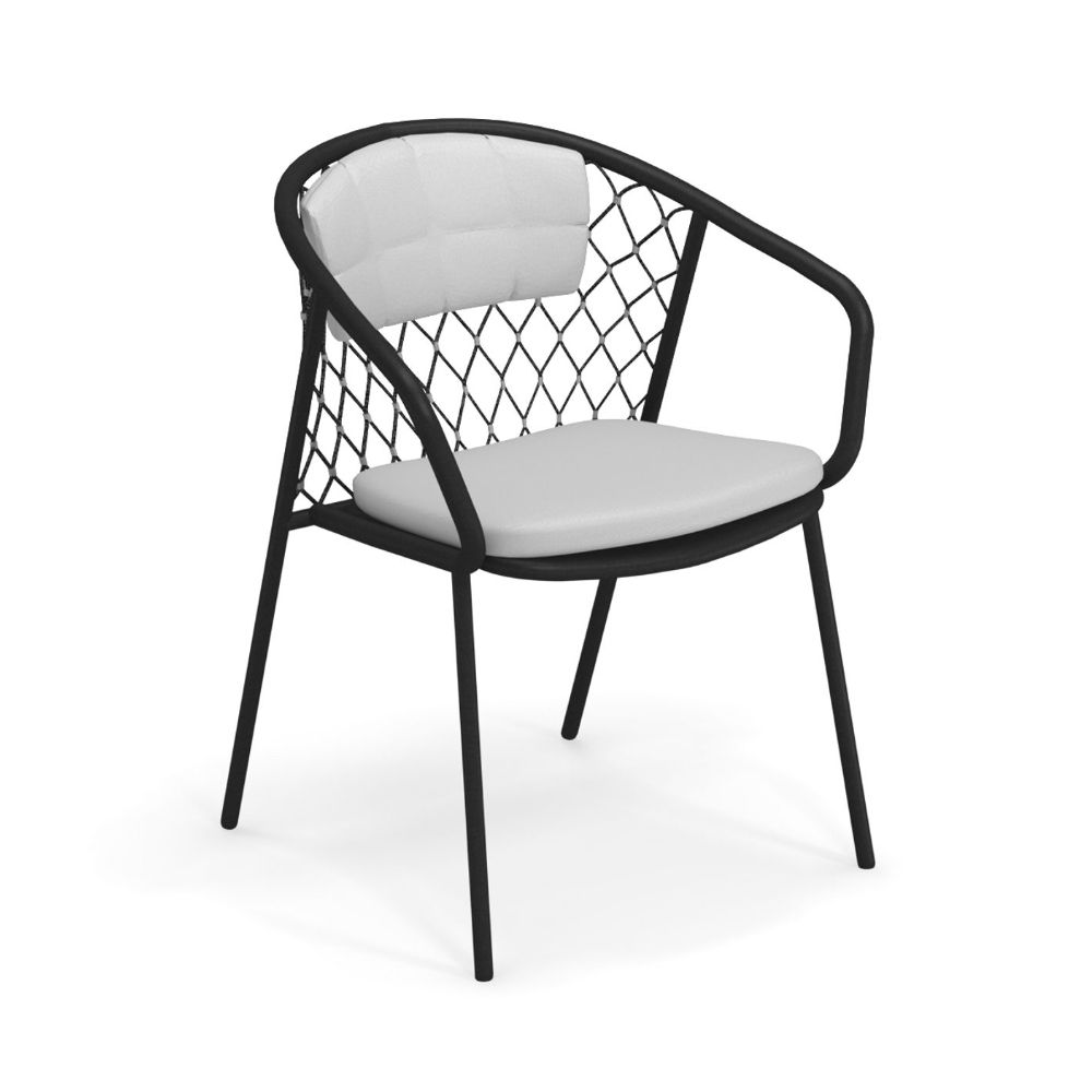 Black varnished metal armchair with white cushion