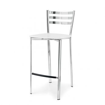 CB1329 Ace - Chromed steel stool with white laquered multilayer seat