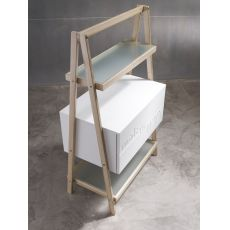 DuexDue - Modern piece of furniture made of MDF, with glass shelves, several colours available
