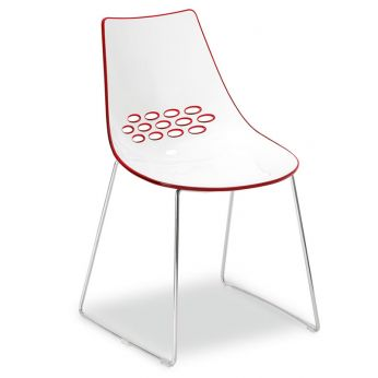 CB1030 Jam - Metal chair with two-coloured polycarbonate seat, white - red version