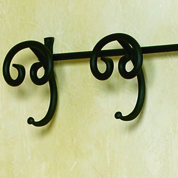 Detail of the coat rack in graphite varnished iron