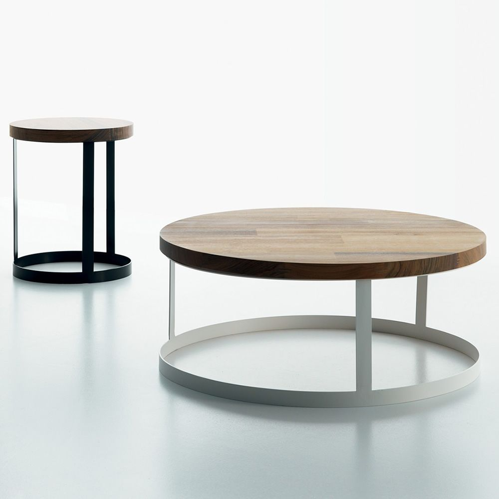 Design coffee table in varnished metal, wooden top, available in different dimensions