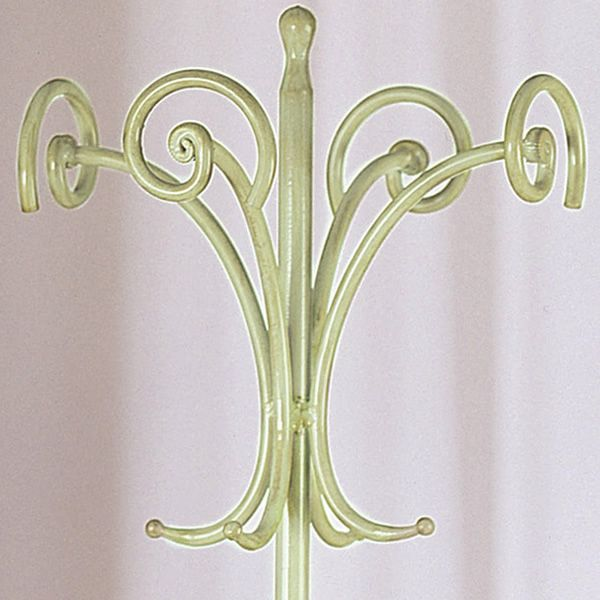 Detail of the coat stand in green with antique golden effect varnished iron