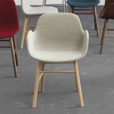 Form-PW UP - Normann Copenhagen wooden armchair, padded seat, different upholsteries and colors available