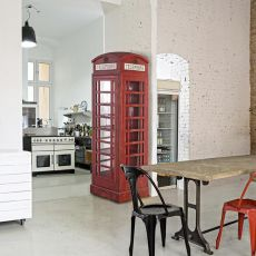 Telephone - Design sideboard in the shape of the London red cabin, mad of wood