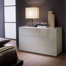 Enea 02 - Bontempi Casa chest of drawers, in wood and glass, available in different colours