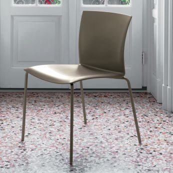 Futura - Chair in sand lacquered metal and sand colour polypropylene seat