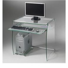 Clear - Metal pc holder with glass shelves and keyboard rack