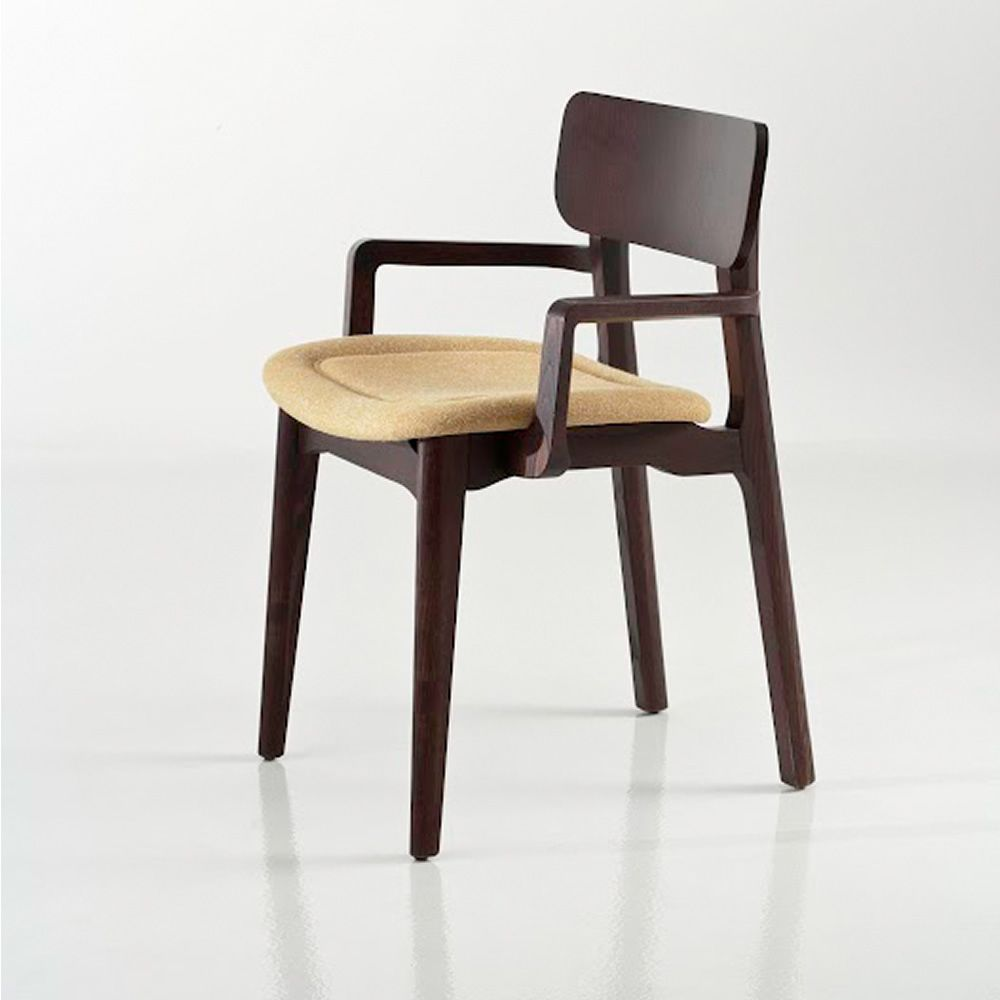 Chair in walnut colour varnished ash wood, with padded seat et armrests