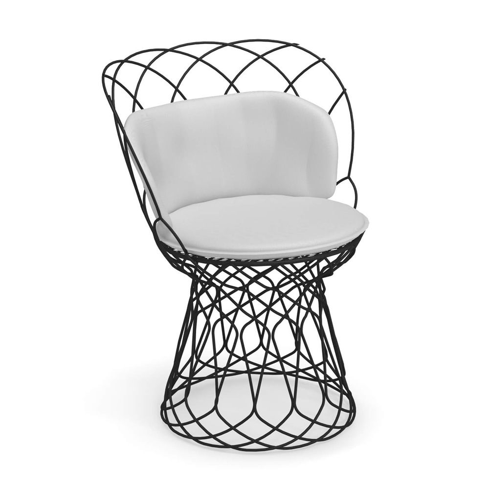Black varnished metal chair, with pillow