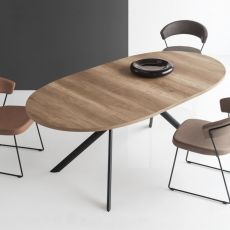 CB4739-E Giove - Connubia - Calligaris extendable metal table with top in glass, laminate or ceramic