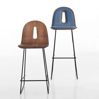 Gotham Woody Soft SG - Black metal chair with walnut seat, with or without fabric cushion, seat height 65 and 80 cm