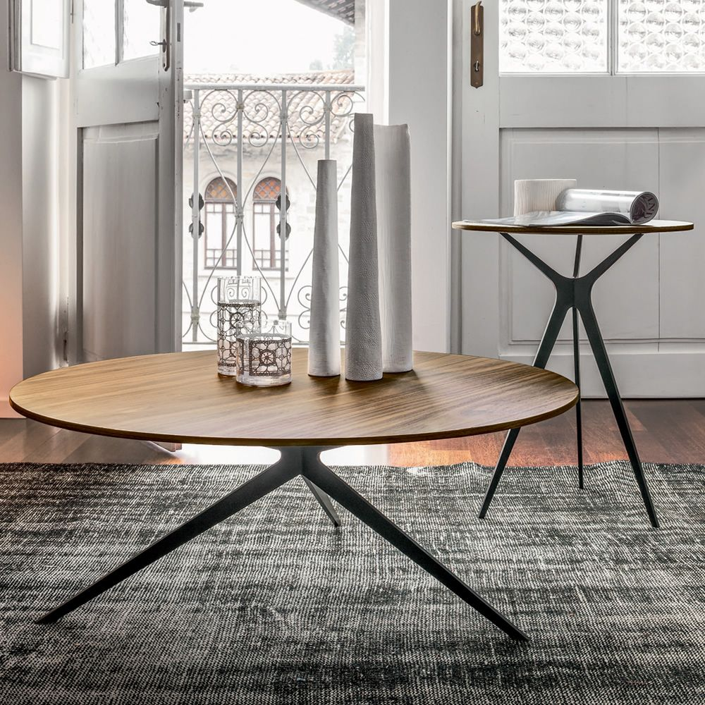 Coffee table with black varnished metal frame and veneered wooden top, Canaletto walnut finish (sizes: S and L)