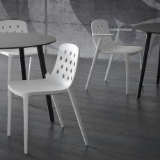 Isidora - Chair in technopolymer, stackable, with or without armrests, also for outdoor