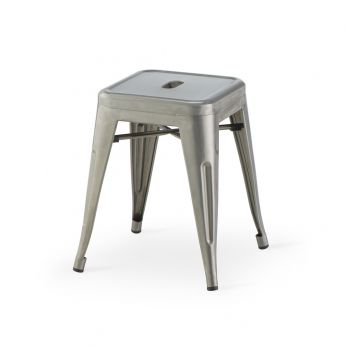 TT881 REP - Stackable stool made of galvanized metal, in natural finish