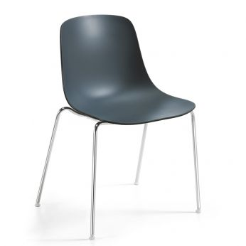 Pure Loop - Metal chair with two-tone polypropylene seat, slate grey-coal black colours
