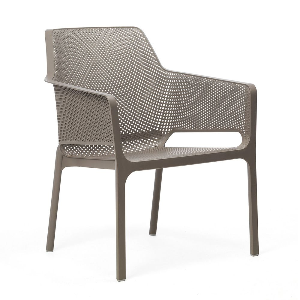 Stackable armchair in dove grey colour