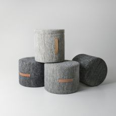 Björk-P - Padded pouf covered with wool, different sizes available