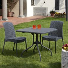 Olimpo 2197 - Table for garden in aluminium and polypropylene, 80x80 cm, reclining top