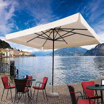 OMB30 - Square parasol with aluminium structure, in anthracite grey varnished, acrylic fabric in ecru colour