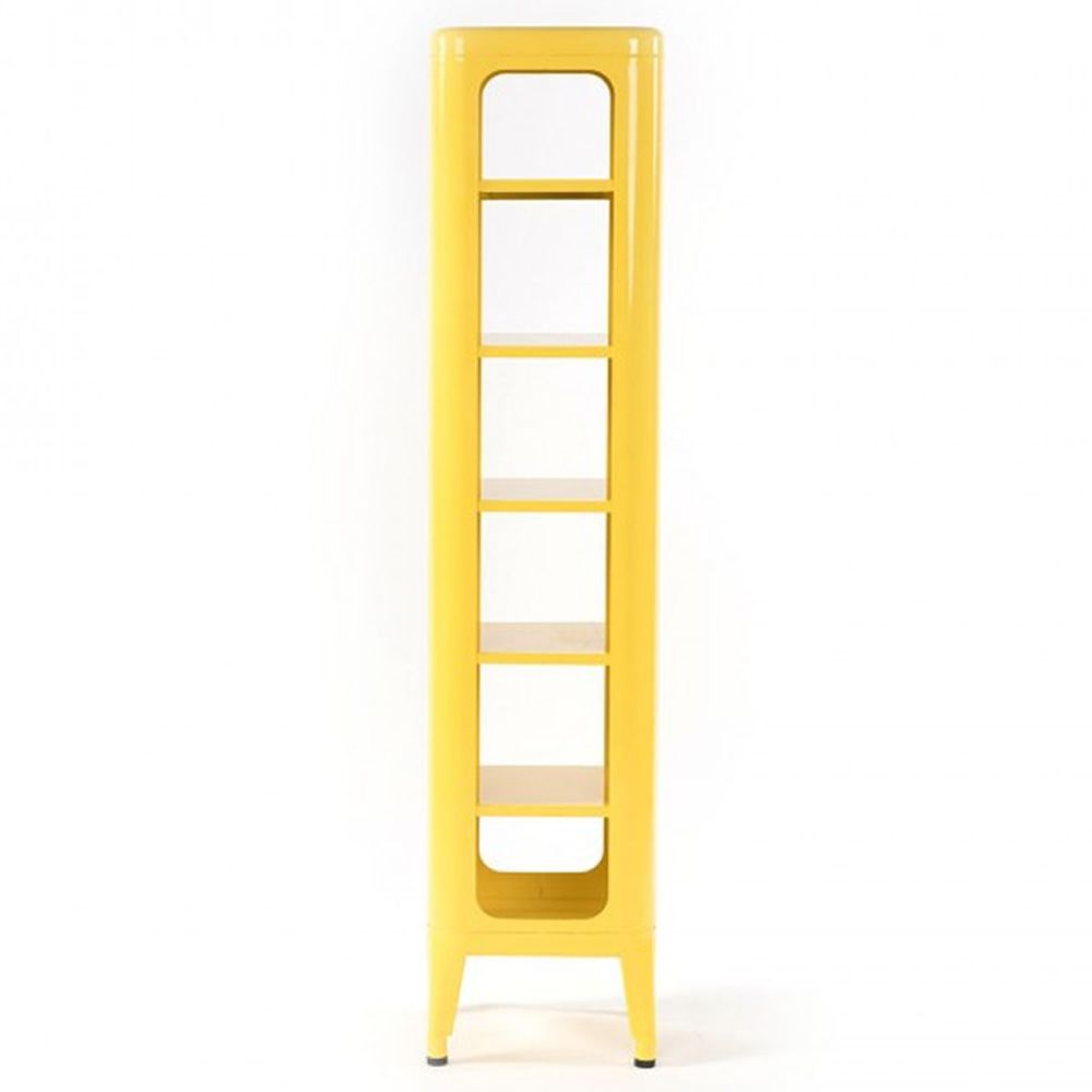 Steel bookcase in yellow varnished. glossy finish