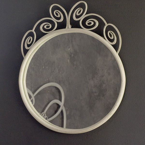 Iron mirror in white with antique golden effect varnished