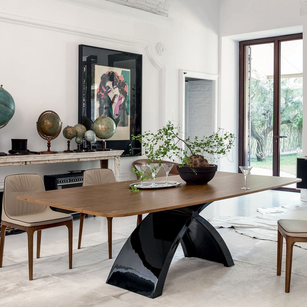 Fixed table made of glossy black agglomerated marble with wooden top, Canaletto walnut finish
