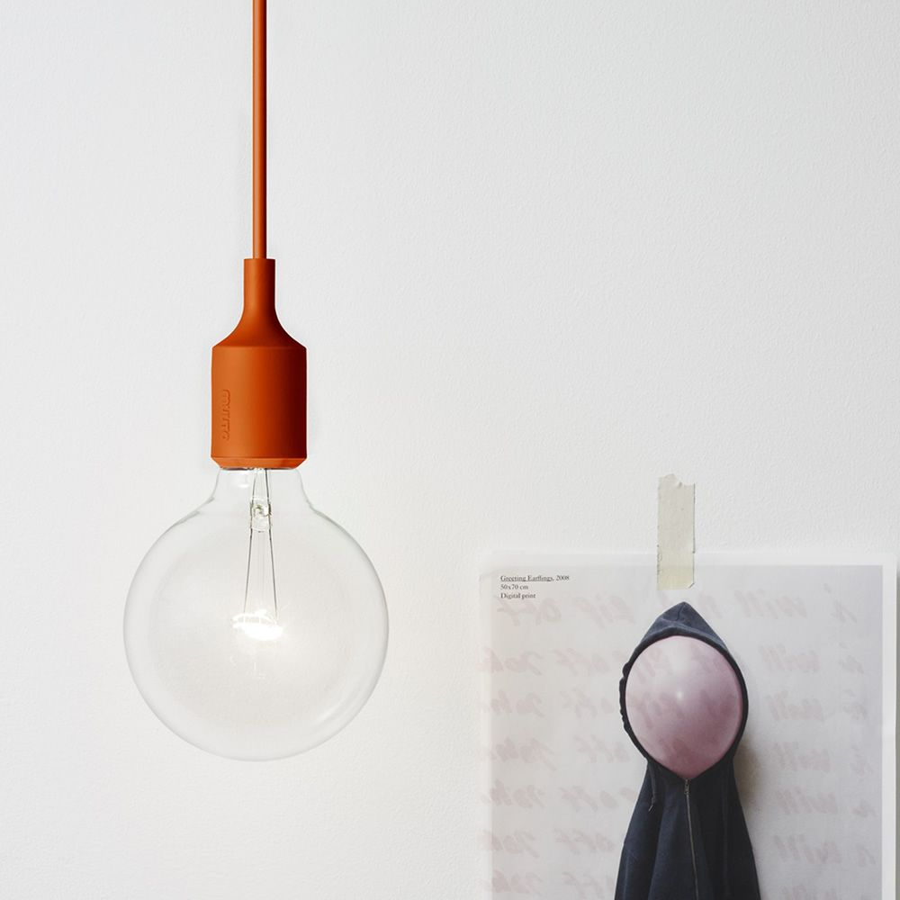 Lampe à suspension en plastique, couleur orange