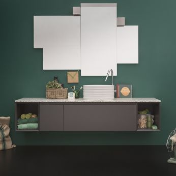 45 C - Sink cabinet in dust grey laquered, marble top, matching with Random mirror