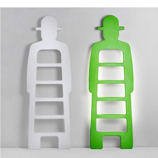 Polyethylene ladder in milk white colour, with variation with LED backlighting system in lime green colour