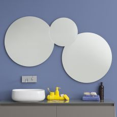 Acqua C - Round mirror composition, available with LED light