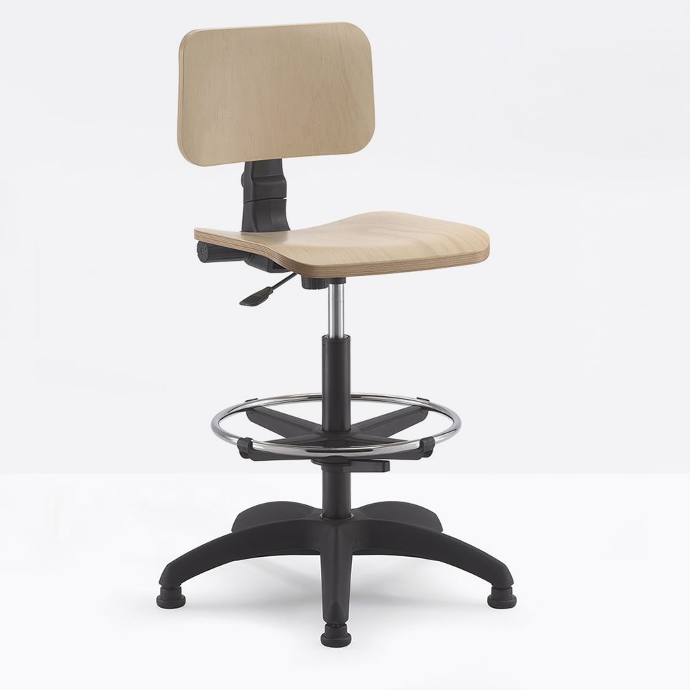Task stool for office with wooden seat