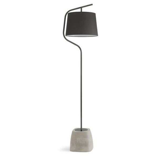 Floor lamp made of cement and anthracite grey varnished steel, lampshade in black cotonette