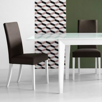 CB1656-C Copenhagen - Opaque optic white lacquered beech chair with dove-grey fabric covering