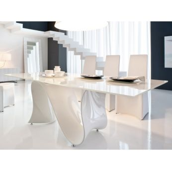 Wave 8014 - Fixed table made of white Baydur with glass top, different finishes and sizes available