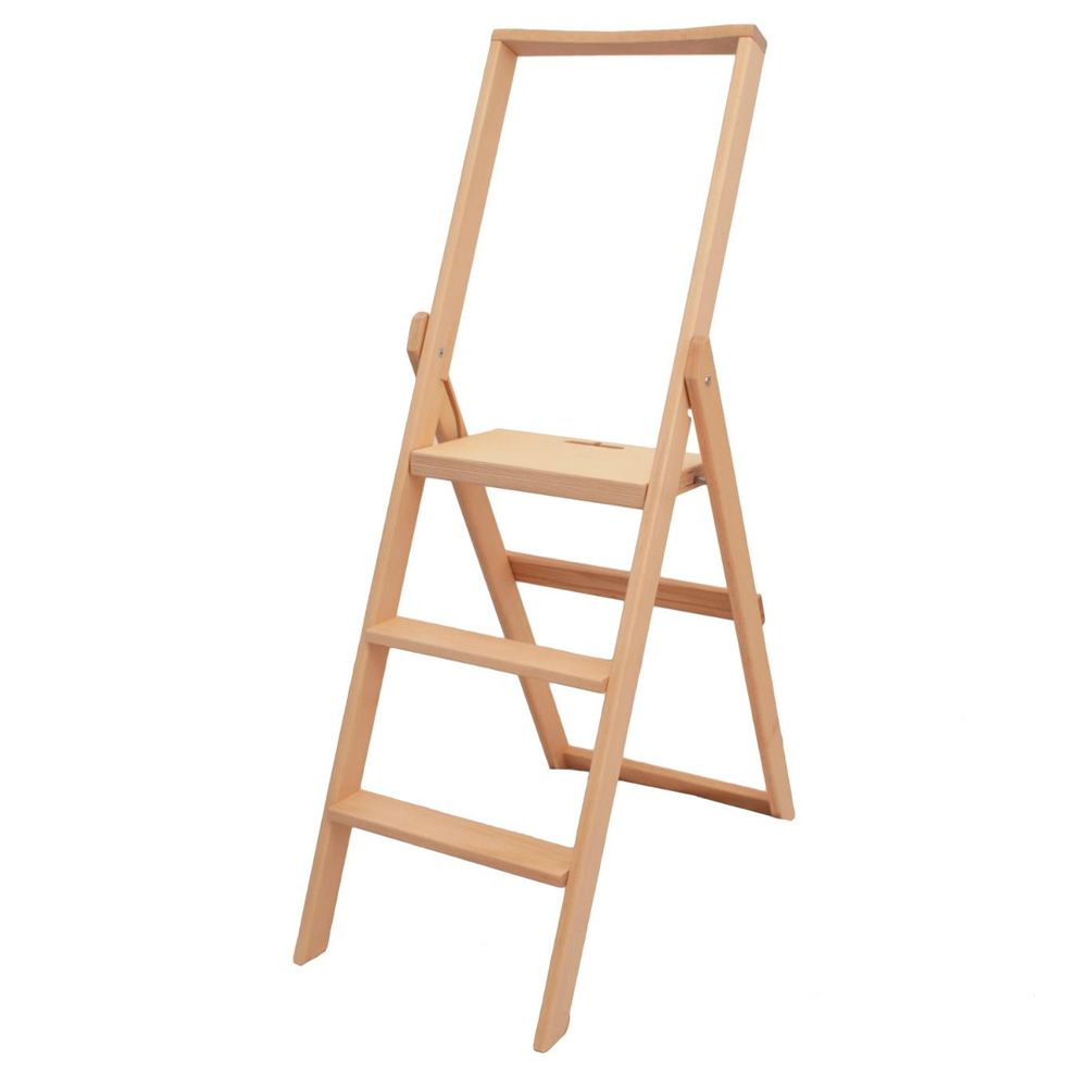 Folding ladder in solid beech wood, natural colour