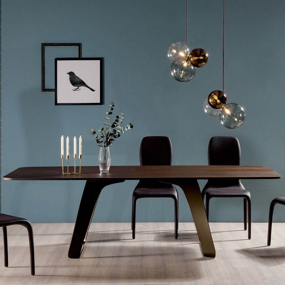 Fixed table made of metal, stone bronze finish, with heat-treated dark oak wooden top